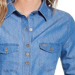camisa maquinetada jeans principessa emma detalhes