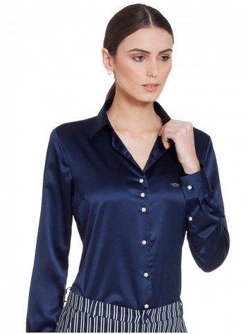 camisa feminina social marinho de cetim principessa jussara look azuk