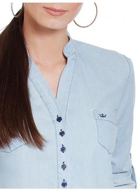 0304f39359 Blusa Jeans Azul Manga Longa Principessa Desiree