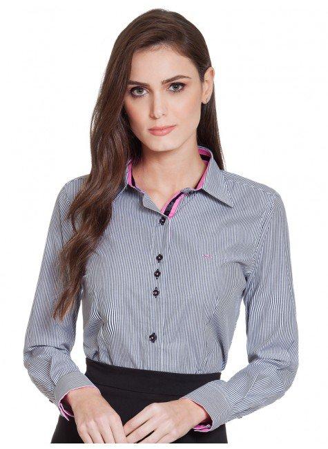 750aa69d2d Camisa Listrada Social Feminina Principessa Ana Cláudia