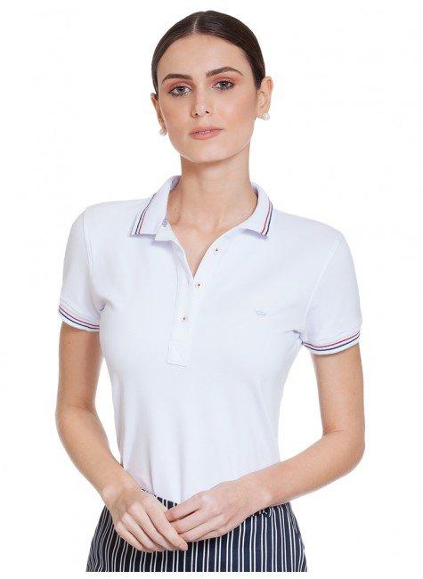 a9d89d44a7b31 Camisa Polo Branca Feminina Principessa Kerin