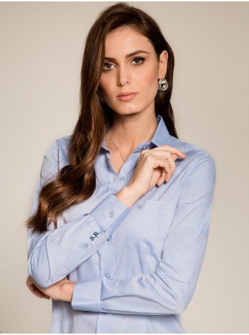 camisa social feminina azul claro personalizada monograma principessa isla