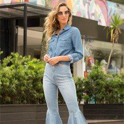 camisa jeans maquinetada principessa emma geral descricao
