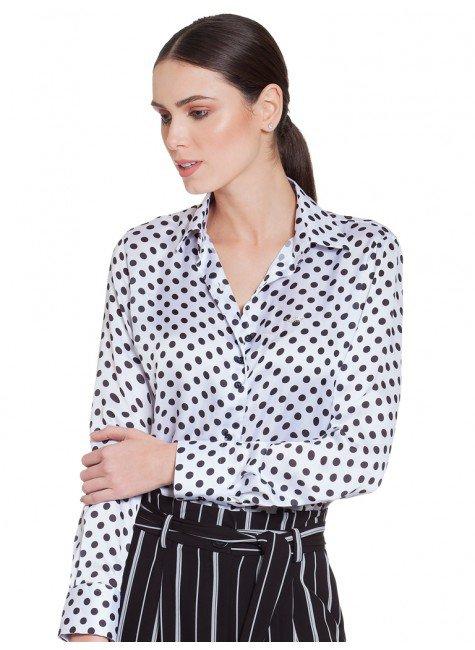 ... camisa feminina de poa branco preto principessa helo frente 2 ... c47dfb0c3d