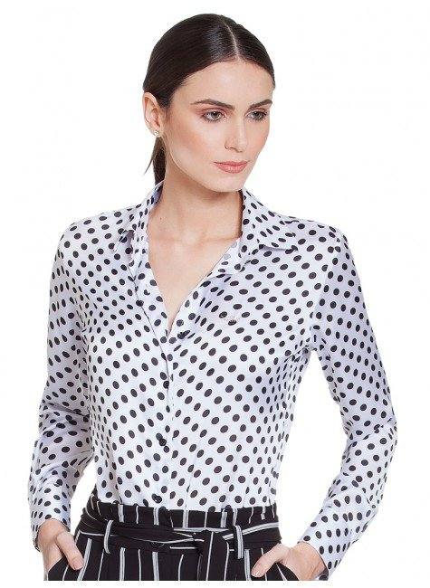 camisa feminina de poa branco preto principessa helo frente f5b9517212