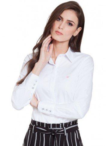camisa social branca principessa diane frente