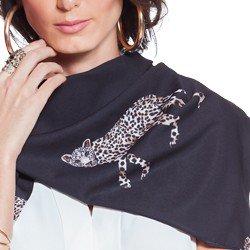 echarpe preto mini leopardo principessa silue geral