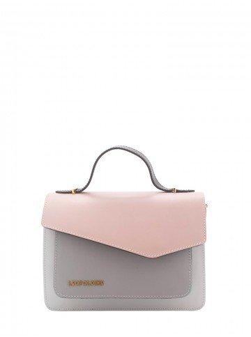 bolsa de couro rosa claro leopoldine luma frente