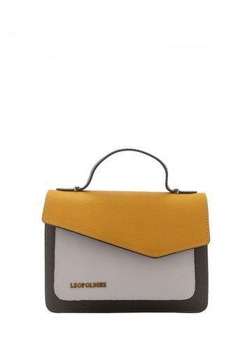 bolsa de couro amarela leopoldine luma frente