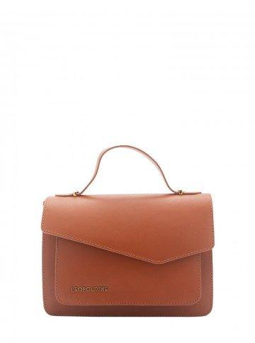 bolsa de couro marrom caramelo leopoldine luma frente