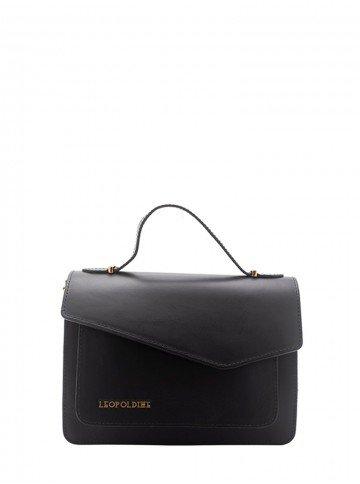 bolsa de couro preta leopoldine luma frnete