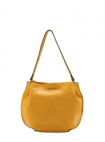 bolsa de couro amarelo leopoldine many frente