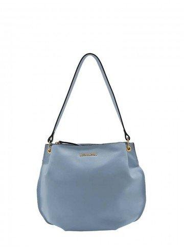 bolsa de couro azul leopoldine many frente