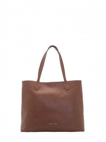 bolsa sacola de couro caramelo leopoldine juna frente