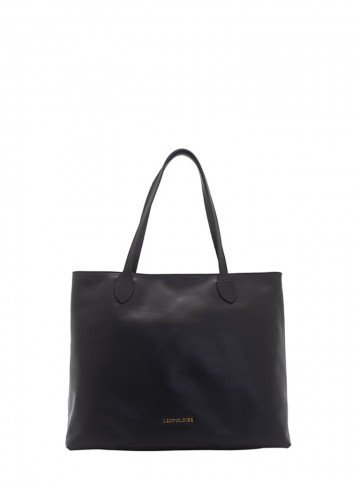 bolsa sacola de couro preto leopoldine juna frente