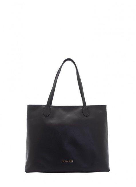 dcfd8509f4 bolsa sacola de couro preto leopoldine juna frente
