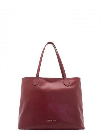 bolsa sacola de couro vermelha leopoldine juna frente
