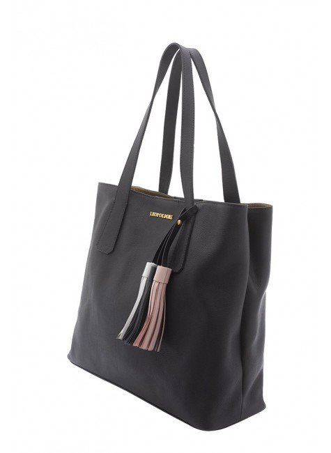 ce151c241 bolsa de couro preta com alca de ombro leopoldine pietra frente; csf8618;  csf8620