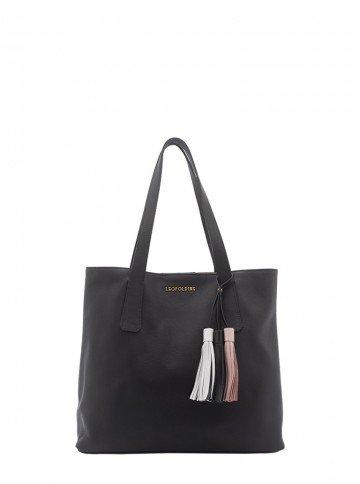 bolsa de couro preta com alca de ombro leopoldine pietra frente