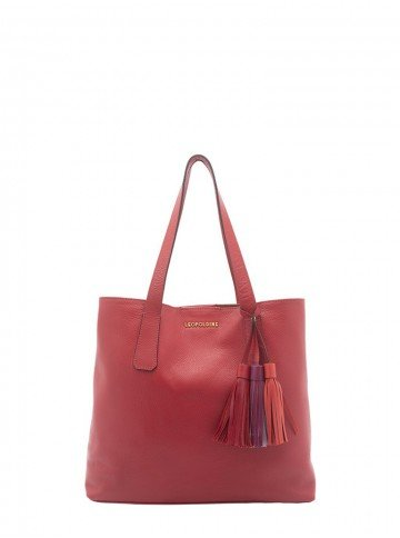 bolsa de couro vermelho com alco de ombro leopoldine pietra frente
