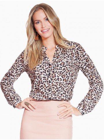 camisa animal print leopardo principessa damiane frente