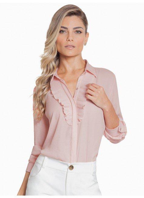 camisa social feminina rose com plissado principessa lucineia look