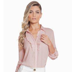 camisa social feminina rose com plissado principessa lucineia detalhe look