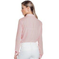 camisa social feminina rose com plissado principessa lucineia detalhe modelage