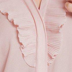 camisa social feminina rose com plissado principessa lucineia detalhe plissado