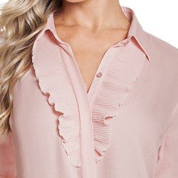 camisa social feminina rose com plissado principessa lucineia detalhe vista