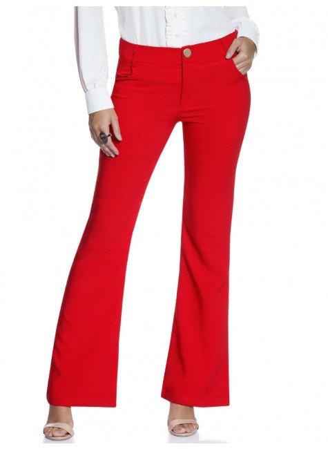 99867c05d Calça Feminina Vermelha Flare Principessa Wenza