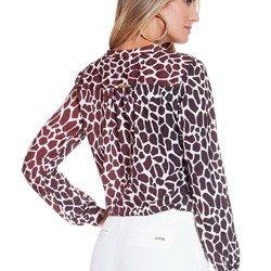 camisa animal print girafa principessa anastacia modelagem