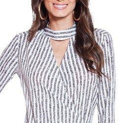 camisa listrada com transpasse principessa maite detalhes