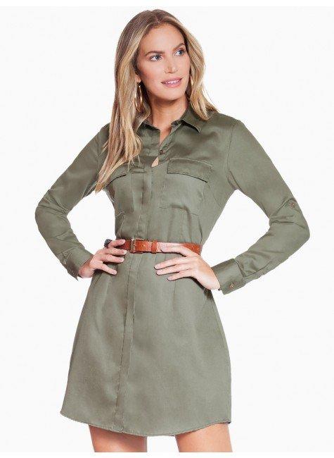 vestido chemise feminino verde militar principessa flavia look