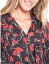 camisa floral gola laco principessa capitu frente detalhes