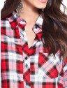 camisa vermelha xadrez principessa thalita frente detalhes