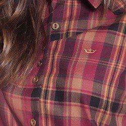 camisa xadrez bordo principessa ines detalhes