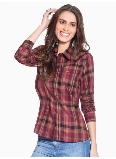 d908ee1a85 Camisa Xadrez Feminina Bordo Principessa Inês