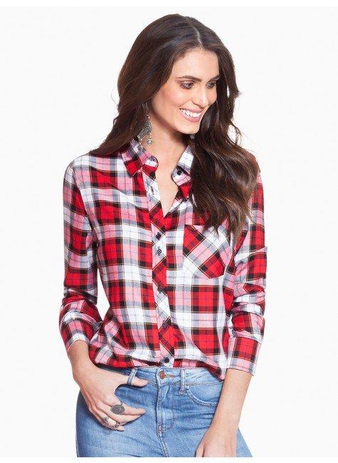 4155ccc115 Camisa Xadrez Vermelha Feminina Principessa Thalita