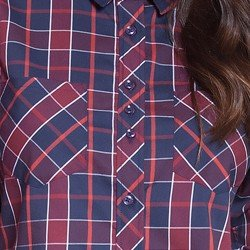 camisa xadrez marinho principessa rosaline detalhes
