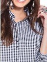 camisa xadrez preta principessa aracele frente detalhes