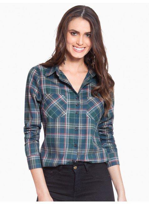 1cf0afe985 Camisa Xadrez Verde Militar Principessa Kimberly