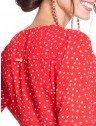 camisa vermelha de poa principessa caterin costas detalhes