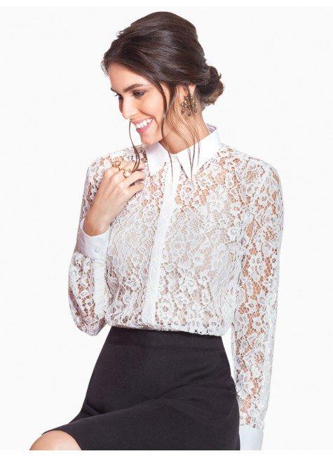 f22c916df Camisa Feminina de Renda Off White Principessa Ana Rita