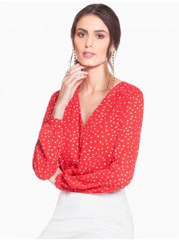 camisa vermelha poa branco principessa caterin frente