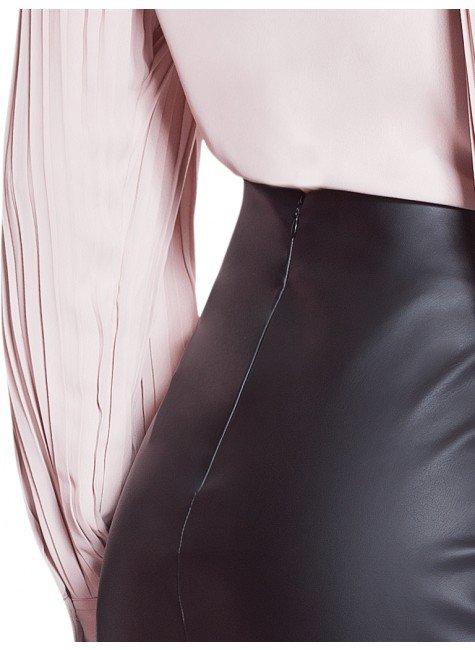 da07446409 ... saia lapis de couro preta principessa jurema costas detalhes ...