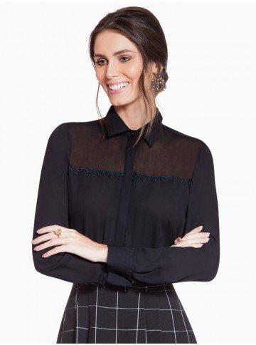 camisa social preta com transparencia principessa martha frente