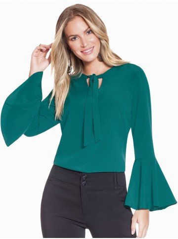 blusa social feminina verde manga flare principessa brigitti