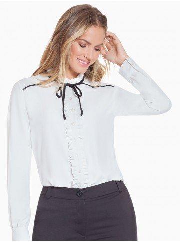 camisa off white com pregas principessa carola frente