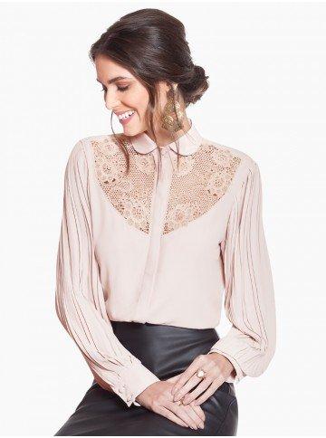 camisa social bordada com plissado nas mangas principessa marjorie frente